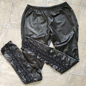 Black Shiny Lace-up pants